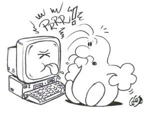 Computer che fa le boccacce