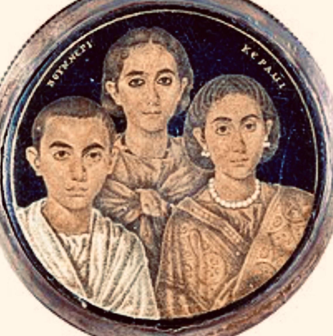 Presunto ritratto di Valentiniano con la madre Galla Placidia e la sorella Onoria