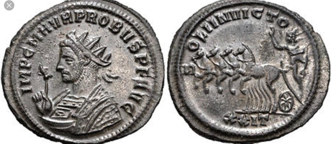Moneta con Dio sole sul verso imperatore Probo
