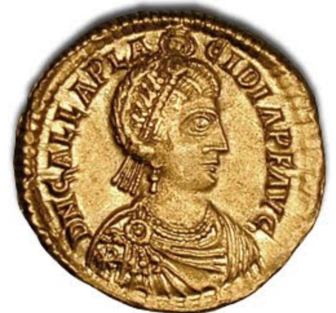 Moneta raffigurante Onoria, figlia di Galla Placidia